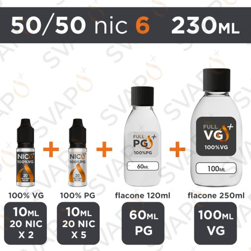 SVAPOPIU' - BASE 230 ML 50/50 - NICOTINA 6