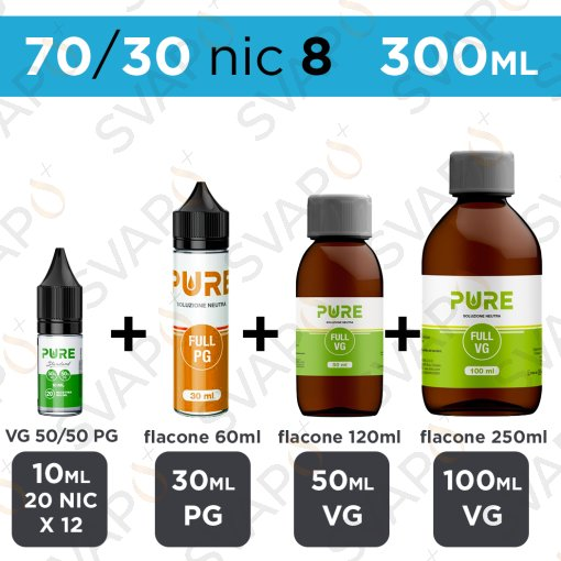 PURE - BASE 300 ML 70/30 - NICOTINA 8
