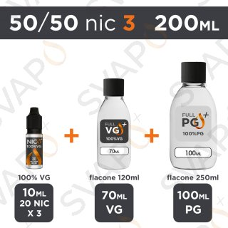 SVAPOPIU' - BASE 200 ML 50/50 - NICOTINA 3